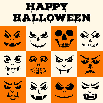 Happy Halloween greeting card. Funny monsters face. Vampires, skeletons, demons stencils. Holiday cartoon characters