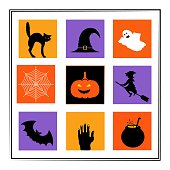 Happy Halloween greeting card or banner template. Silhouettes icons Vector illustration set. Halloween horror characters. Black Cat, witch hat, ghost, witch, bad, potion, pumpkin, zombie hand, spider web.