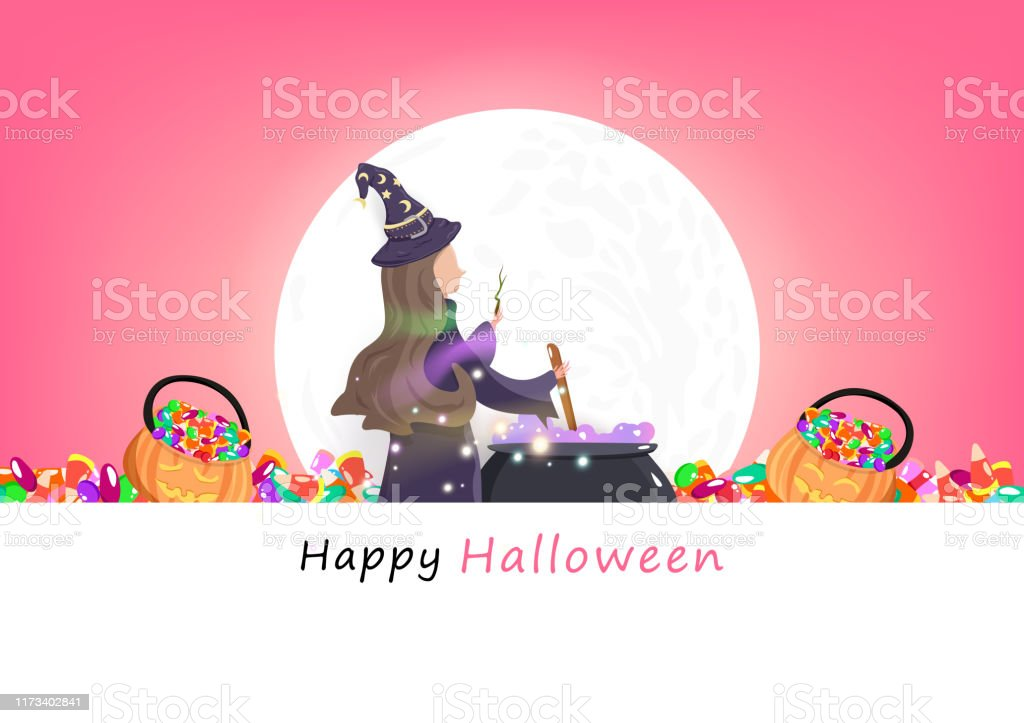 Happy Halloween Greeting Card Party Invites Witch And Magic