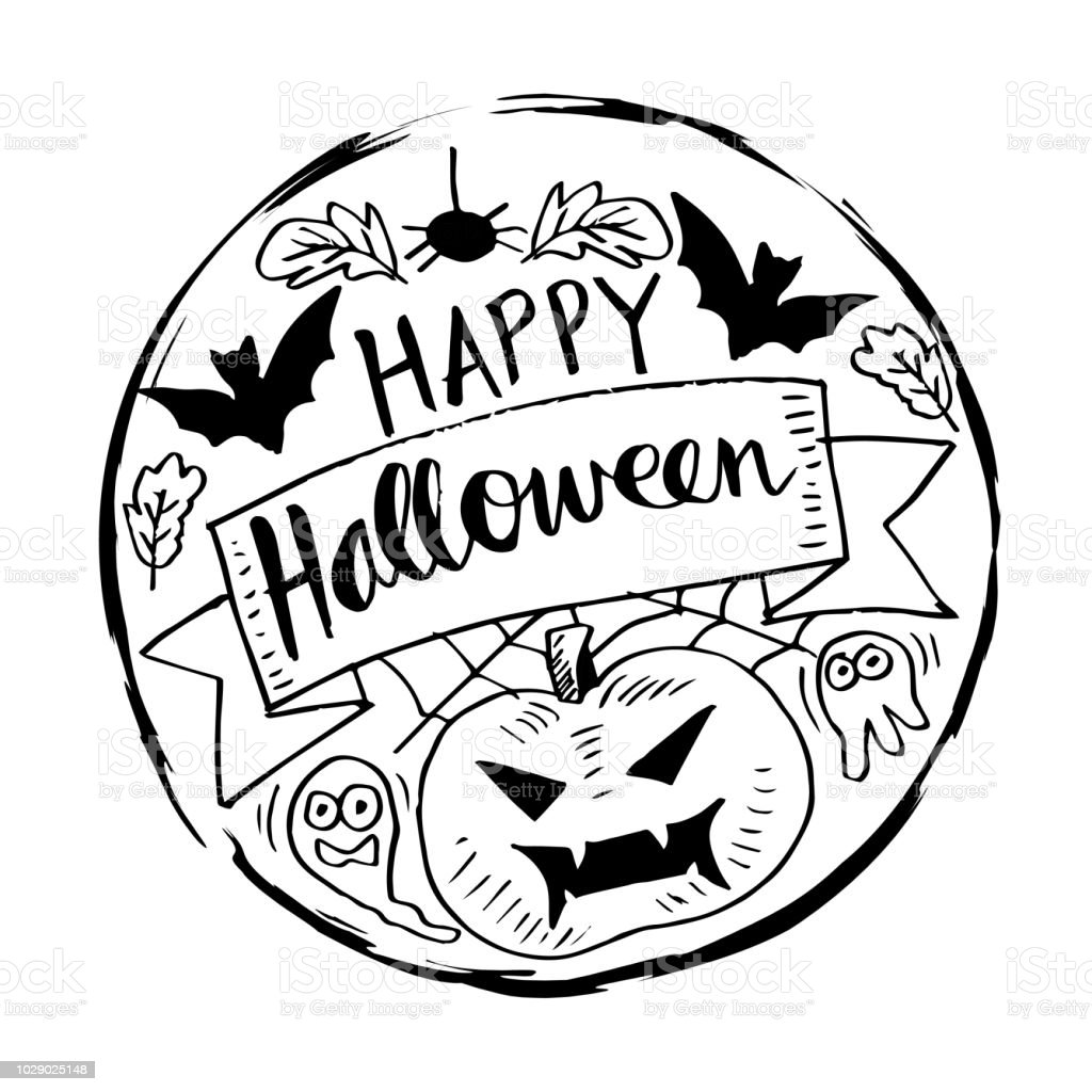 happy halloween greeting card stock vector art & more images of art