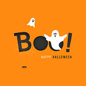 istock Happy Halloween greeting card vector illustration, Boo! with flying ghost and spider web on orange background. 1045491432
