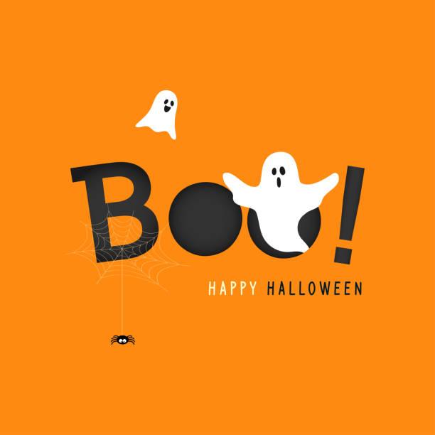 illustrazioni stock, clip art, cartoni animati e icone di tendenza di buona illustrazione vettoriale del biglietto d'auguri di halloween, boo! con fantasma volante e ragnatela su sfondo arancione. - halloween