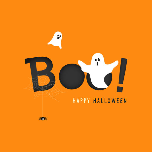 happy halloween greeting card vector illustration, boo! with flying ghost and spider web on orange background. - halloween stock illustrations