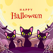 Happy Halloween greeting card vector illustration. Cut 3 black cats in the graveyard on full moon background