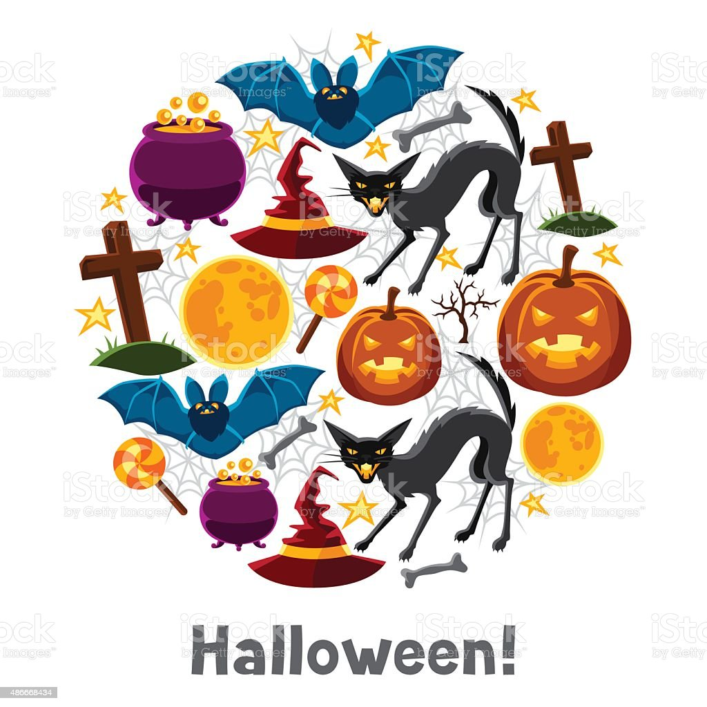 Happy halloween greeting card with characters and objects stock happy halloween greeting card with characters and objects royalty free happy halloween greeting card with kristyandbryce Choice Image