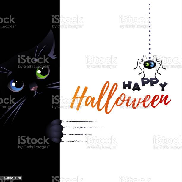 Happy halloween greeting card with cute black cat and spider vector id1058552278?b=1&k=6&m=1058552278&s=612x612&h=lhud2yep8yqupfrxibyxlkutojzmnijqrcw9r676ubq=