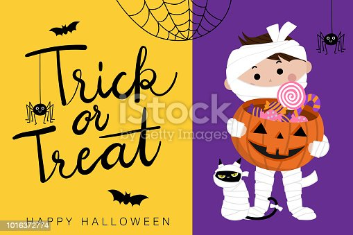 Happy halloween greeting card with cute mummy and spider. Trick or treat calligraphy hand written, Pumpkin and candy holiday cartoon.