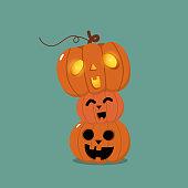 Happy Halloween greeting card with cute orange pumpkin. Holidays cartoon character.-Vector.