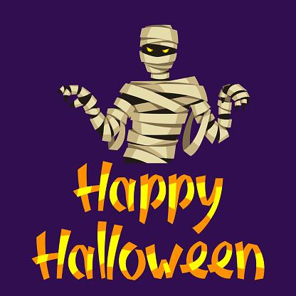 Happy Halloween greeting card with mummy.