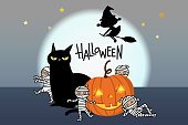 Happy Halloween greeting card with pumpkin, black cat, scary mummy and witch. Holidays cartoon character background.