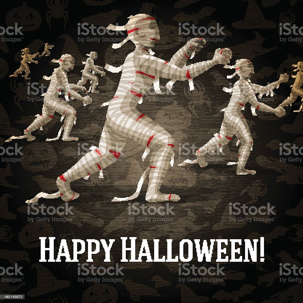 Happy halloween greeting card with walking mummies fading to the vector art illustration