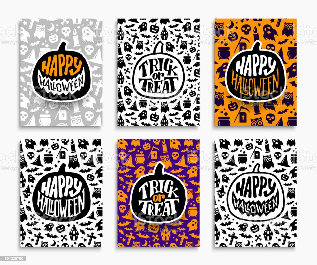 Happy Halloween greeting cards set royalty-free happy halloween greeting cards set stock vector art & more images of art