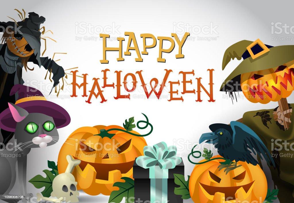 Ilustración de Feliz Halloween Felicitación Diseño Dibujos Animados ...