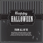 Vector illustration of a Happy Halloween greeting design template. Includes textured backgroud, label and sample text design.