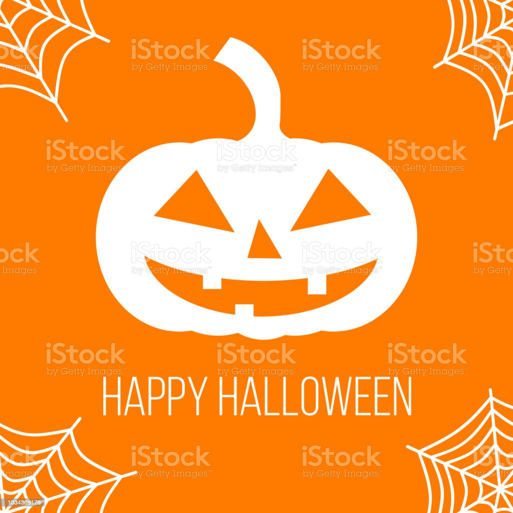 Happy Halloween Greetings Card With Pumpkin And Spider Web Stock Illustration Download Image Now Istock