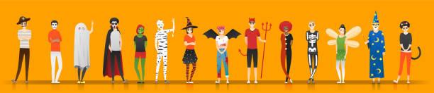 ilustrações de stock, clip art, desenhos animados e ícones de happy halloween , group of teens in halloween costume concept isolated on orange background , vector, illustration - fantasia