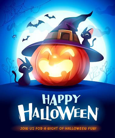Happy Halloween. Halloween pumpkin. Jack O Lantern Pumpkin with witch hat in the moonlight.