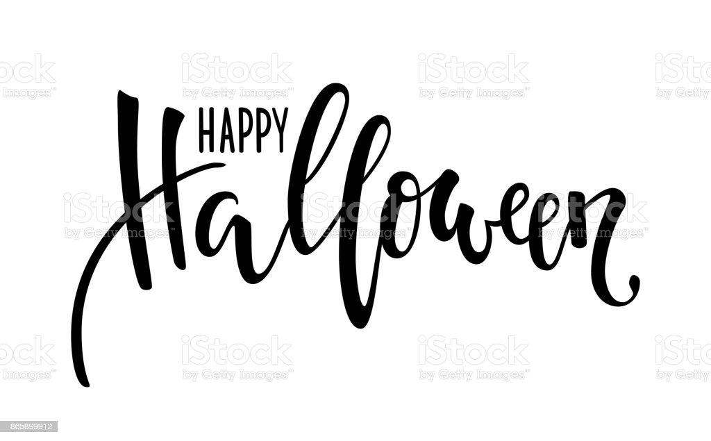 Feliz Halloween. Mano dibuja Letras de lápiz creativo caligrafía y cepillo. diseño de tarjeta de felicitación navideña e invitación, volantes, afiches, banner fiesta de halloween. - ilustración de arte vectorial