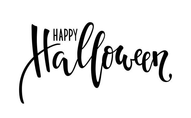 ilustraciones, imágenes clip art, dibujos animados e iconos de stock de feliz halloween. mano dibuja letras de lápiz creativo caligrafía y cepillo. diseño de tarjeta de felicitación navideña e invitación, volantes, afiches, banner fiesta de halloween. - tipos de letra de historietas