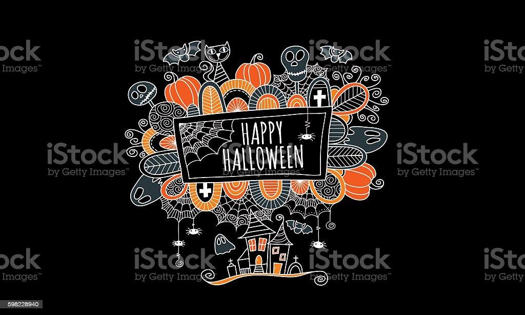 Happy Halloween Hand Drawn Doodle Vector Black Background ilustração de happy halloween hand drawn doodle vector black background e mais banco de imagens de abstrato royalty-free