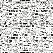 Happy Halloween. Hand Drawn seamless pattern for wrapping paper