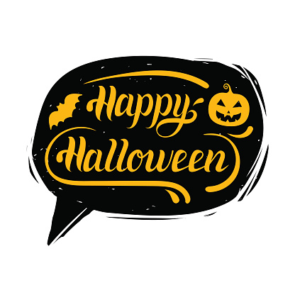 Happy Halloween hand lettering in speech bubble. Vector typographic poster or card with Pumpkin and bat illustration.