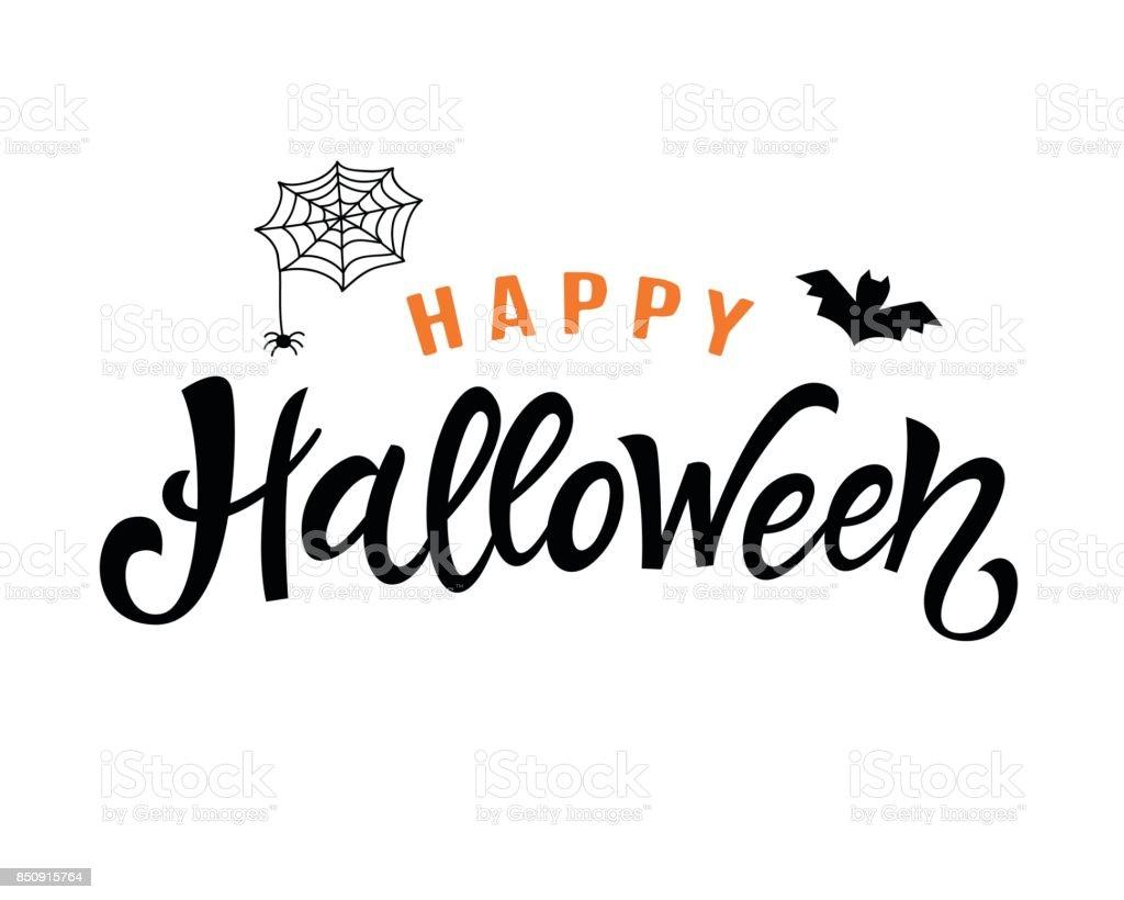 Feliz Halloween manuscrita Letras - ilustración de arte vectorial