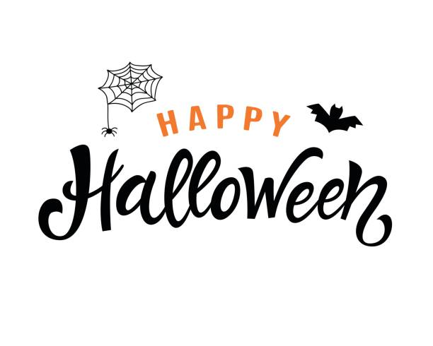 Happy Halloween manuscrite lettrage - Illustration vectorielle