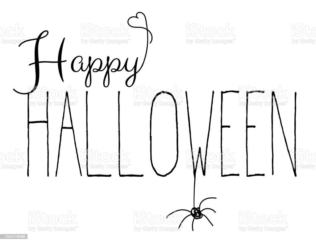 Happy halloween handwritten text isolated on white vector art illustration