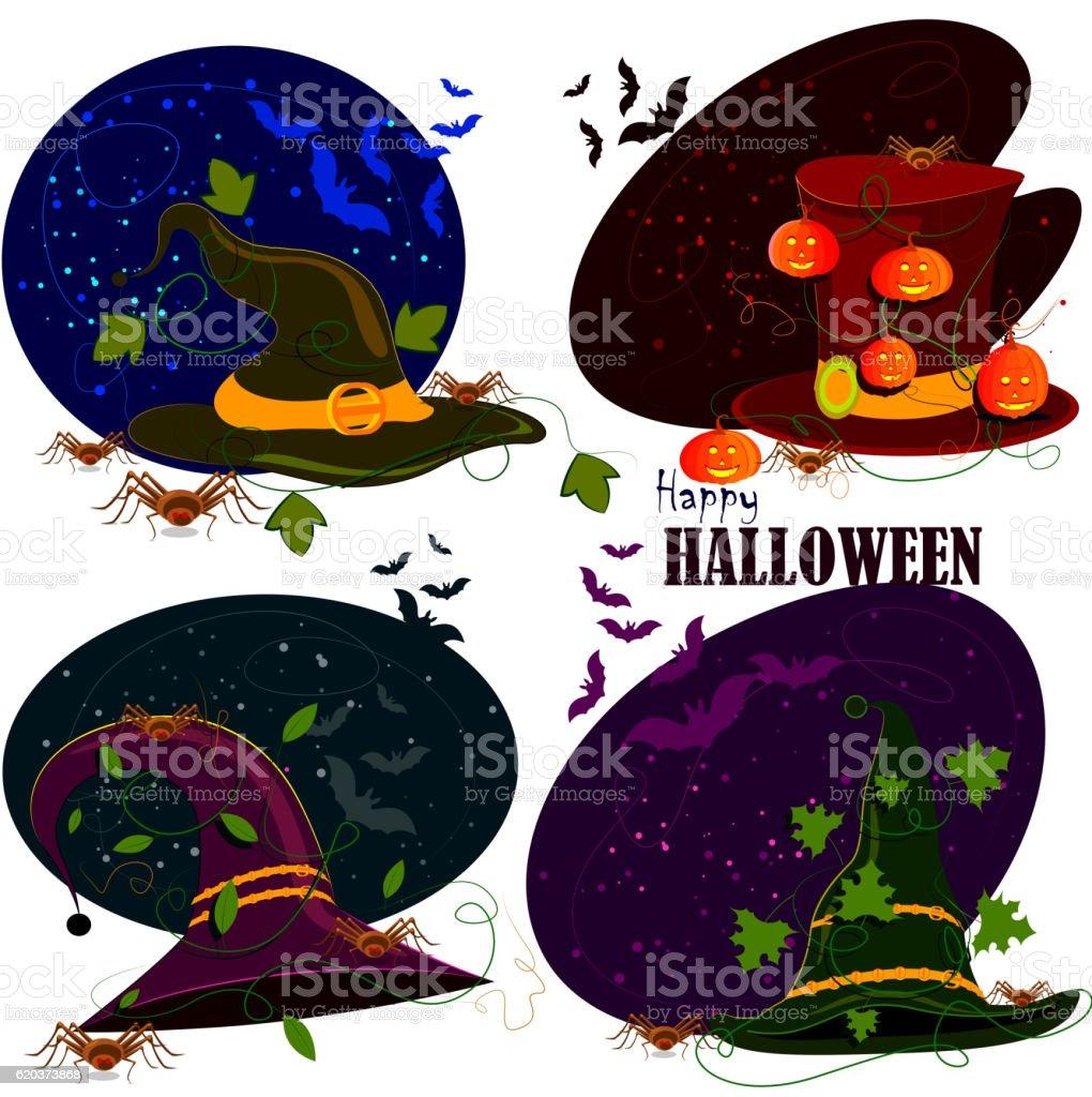 Happy Halloween hat scary background happy halloween hat scary background - arte vetorial de stock e mais imagens de abóbora-menina - cucúrbita royalty-free
