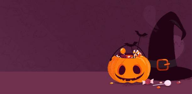 happy halloween holiday background with pumpkin, witch hat, ghosts and candies. - halloween candy stock illustrations