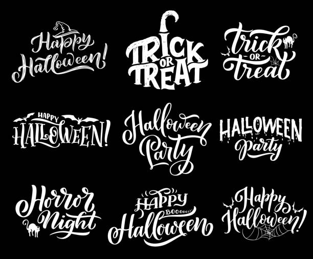 Happy Halloween holiday vector lettering Happy Halloween lettering sketch for greeting cards. Vector calligraphy of trick and treat in pupkin with black witch hat and cat or bat with spider in web for spooky Halloween celebration halloween cat stock illustrations