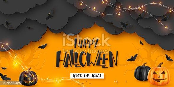 istock Happy Halloween horizontal banner. 1272290425