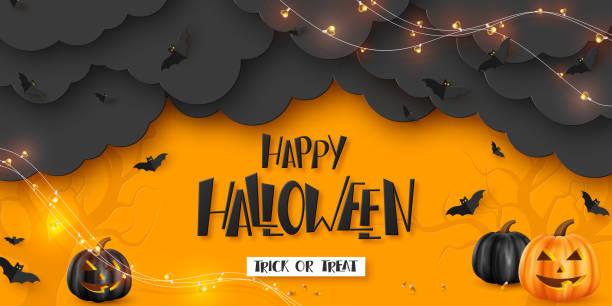 illustrazioni stock, clip art, cartoni animati e icone di tendenza di buon striscione orizzontale di halloween. - halloween