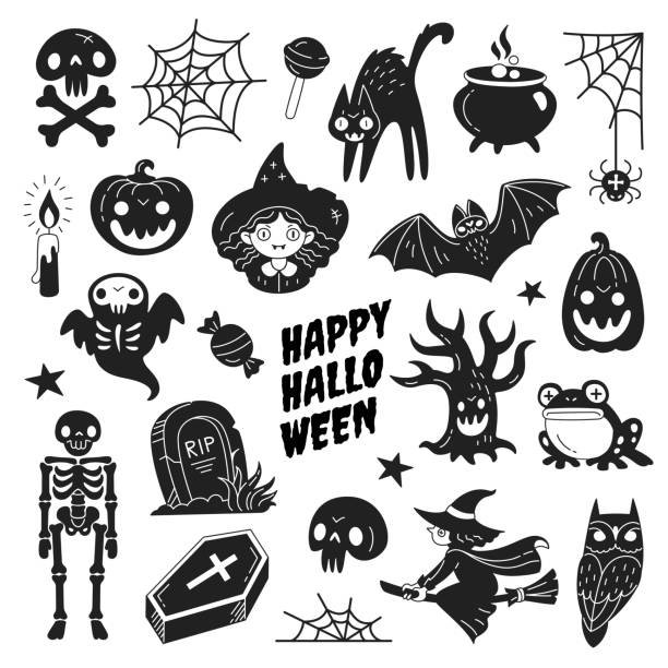 Happy Halloween icons collection. Vector illustration of funny black and white Halloween symbols such as skeleton, grave, skull, pumpkin, owl, toad, cat, ghost and a witch isolated on white. ghost icon stock illustrations