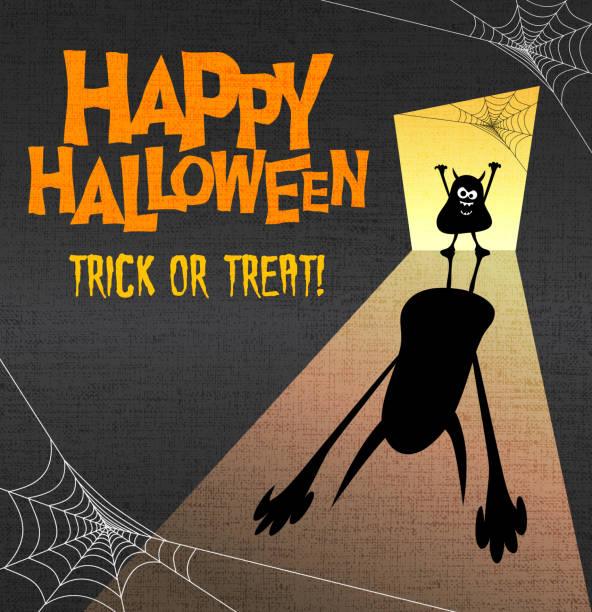 happy halloween illustration mit kleinen monster casting riesiger beängstigend schatten. - türposter stock-grafiken, -clipart, -cartoons und -symbole