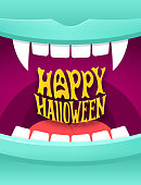 Happy Halloween illustration with vampire mouth