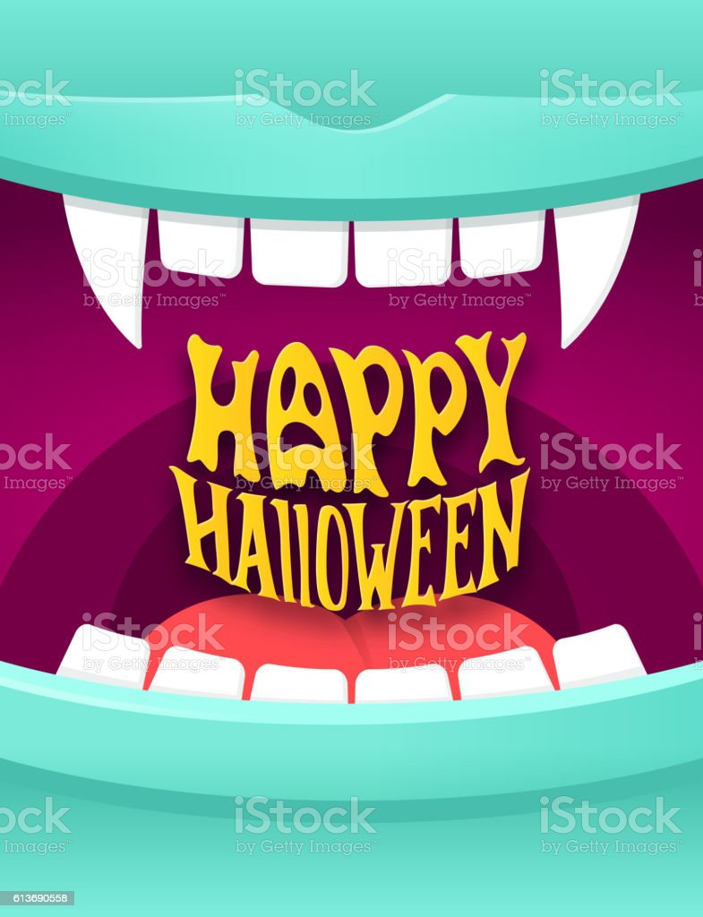 Happy Halloween illustration with vampire mouth vector art illustration