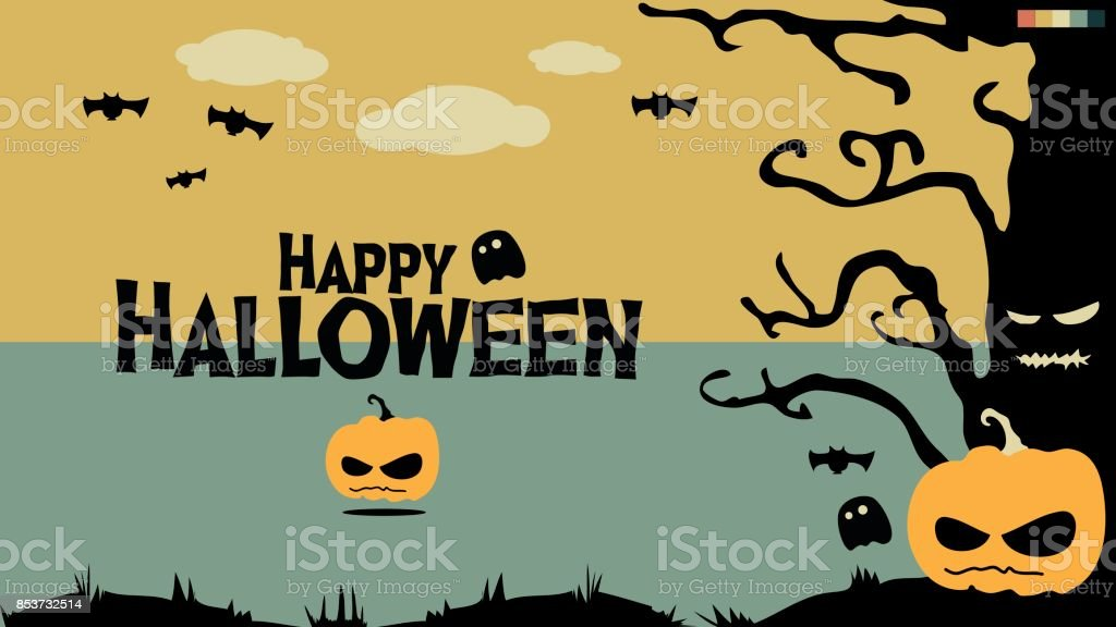 Happy Halloween In Cute Vintage Modern Pastel Color Tone
