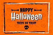 Happy Halloween in flat design lettering on orange pattern background