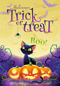 Happy Halloween invitation. Holiday trick or treat poster. Cartoon black cat face pumpkin bat and spider on the full moon background. Greeting card. Watercolor design. Vector illustration.