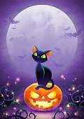 istock Happy Halloween invitation. Holiday trick or treat poster. Cartoon black cat face pumpkin bat and spider on the full moon background. Greeting card. Watercolor design. 1177934304