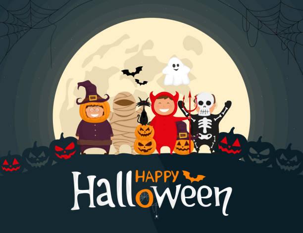 Happy Halloween kids in costumes on the moonlight background. Happy Halloween kids in costumes. Mummy, ghost, skeleton, devil, pumpkin and black cat cartoon characters on the moonlight background. Vector illustration. cat skeleton stock illustrations