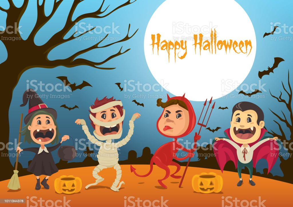 Happy Halloween Kids vector art illustration