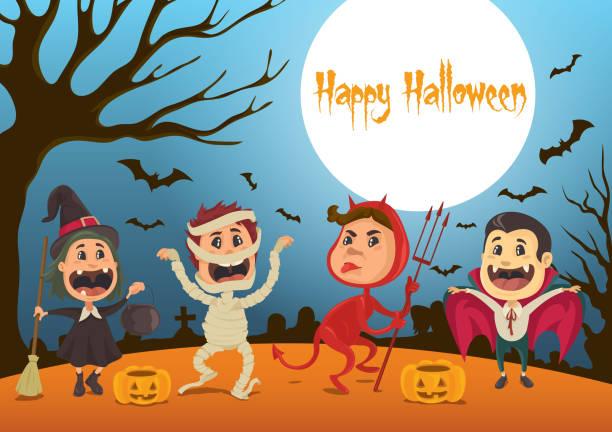 Happy Halloween Kids vector art illustration