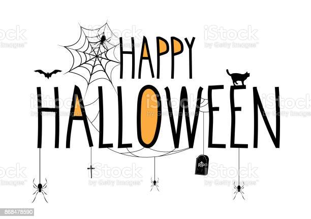 Happy halloween lettering banner handwritten text with hanging and vector id868478590?b=1&k=6&m=868478590&s=612x612&h=eqh phod mugpawdefcu0wsdbvqdj8orhsx2ng vbca=