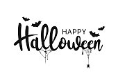 Happy Halloween lettering. Handwritten calligraphy with spider web and bats for greeting cards, posters, banners, flyers and invitations. Happy Halloween text, holiday background. Vector