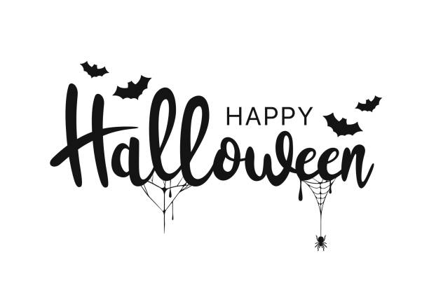 ilustrações de stock, clip art, desenhos animados e ícones de happy halloween lettering. handwritten calligraphy with spider web and bats for greeting cards, posters, banners, flyers and invitations. happy halloween text, holiday background - halloween
