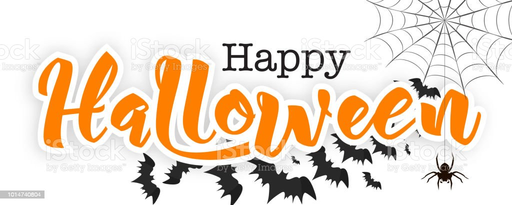 Happy Halloween Lettering In Paper Cut Technique Vector Illustration Hand Drawn Text Spider On Web Flying Black Bat Silhouettes Isolated On White Background Stock Illustration Download Image Now Istock