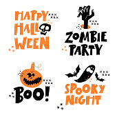 Happy Halloween lettering phrases set. Traditional symbols. Vector illustration